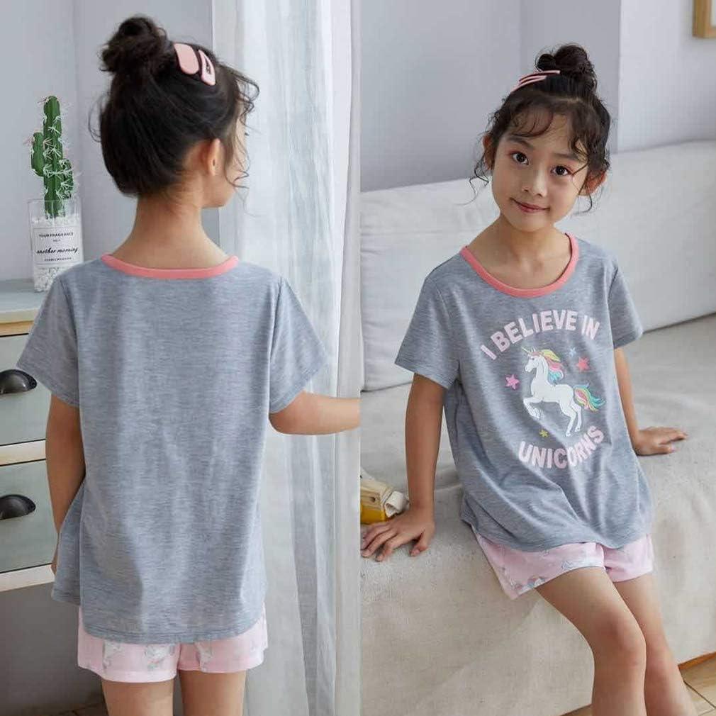YRUBOHA Girls Pajamas Sets Pjs Short Sleeve Sleep Shirt Summer Clothes for Girls