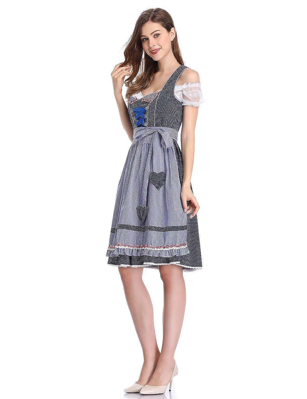 Oktoberfest Costume Midi Dress (3 Pieces:Dress Shirt Apron) for Party Cocktail Dress KOJOOIN Women Dirndl Dress Formal Dress