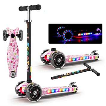 Mini Vadeable Patada Patinetes, 4 ruedas Con luces de ...