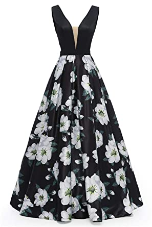 Dydsz Long Evening Prom Dresses for Women Formal Gown with Pockets Print  Floral D295 Black1 2 a880e587e