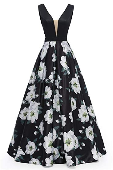 Dydsz Long Evening Dresses for Women Party with Pockets Floral Print Prom Dress A Line D295