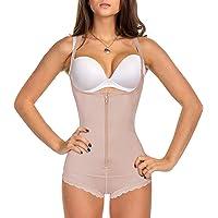 Gotoly Women's Bodysuit Latex Waist Trainer Tummy Firm Control Shapewear Slim Full Body Shaper Open Bust Zipper Corset
