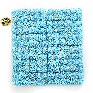 FLOWER 144pcs/pack 2cm Mini Foam Rose Artificial Bouquet Multicolor Rose Wedding Decoration Scrapbooking Fake Easter Gift (Sky Blue) 12