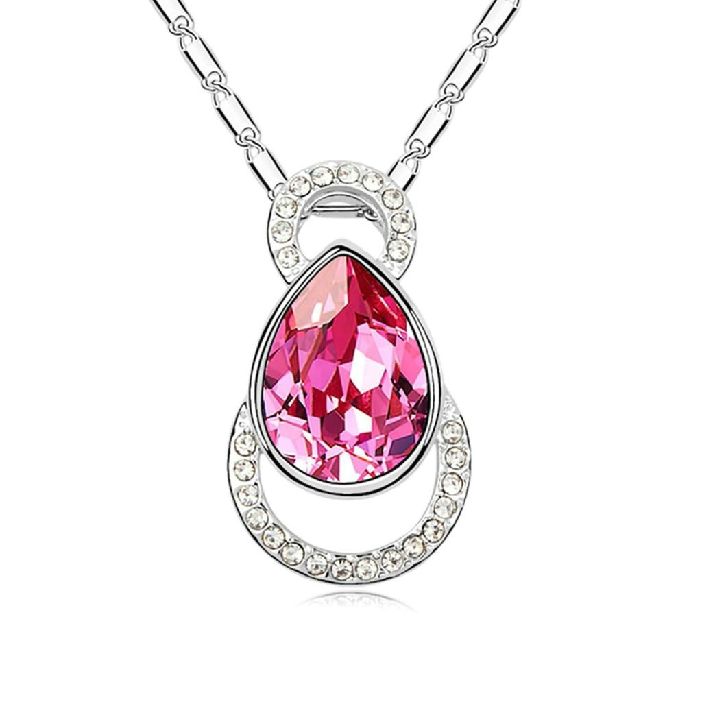 Daesar Gold Plated Womens Hollow Round Teardrop Cubic Zirconia Pendant Necklace