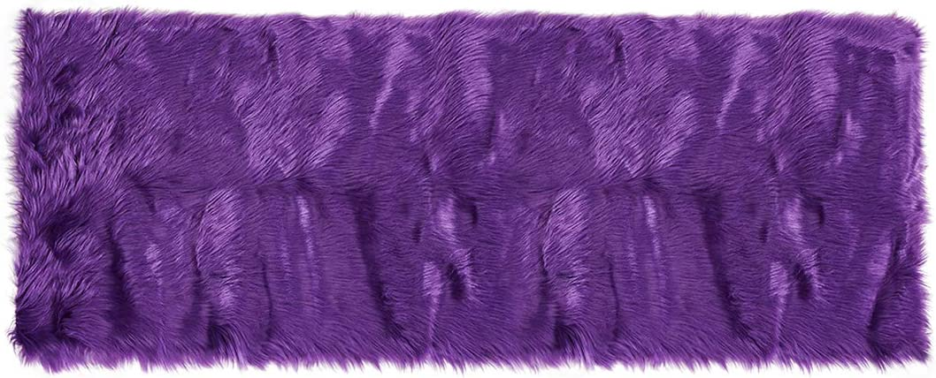 uxcell Faux Sheepskin Area Rug Indoor Soft Fluff Carpet Rugs for Bedroom Floor Sofa Cabinet Living Room 2×5 Feet Rectangle, Purple