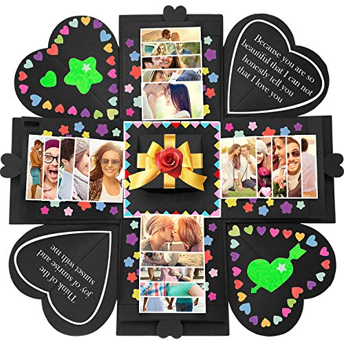 Tatuo Creative Gift Box Memory DIY Scrapbook Photo Album for Christmas Birthday Anniversary Valentine Day Wedding (Black) (Hexagon Gift Box Craft)