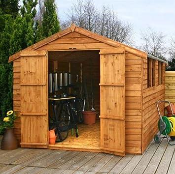 Mercia Garden Products - Cobertizo de madera para jardín, con techo a dos aguas, aprox. 30 x 20 cm: Amazon.es: Jardín