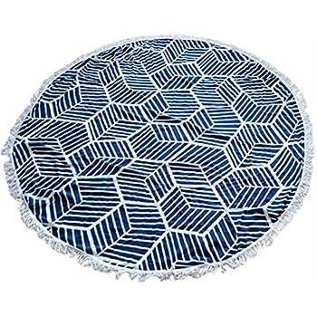 Round Beach Microfiber Towel/ Round Beach Blanket/ Round Beach Throw/ Round Beach Shawl/ Wrap/ Round Picnic Throw/ Round Tablecloth (Blue Hexagon Print)
