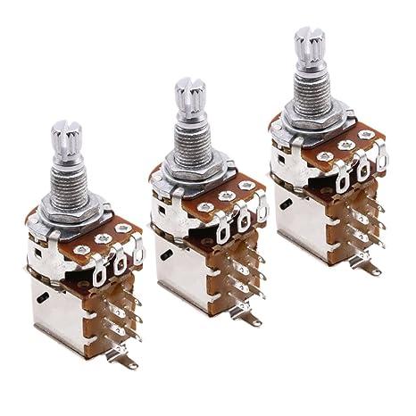 Sharplace Guitarra Eléctrica A500K Potenciómetro Control Empuje Bajo 3 Piezas
