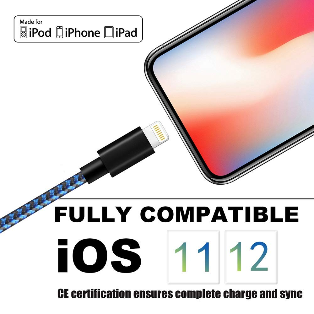iPhone Charger 3Pack 10 FT Lightning Cable Nylon Braided USB Charging Cord Compatible with iPhone 11//XS//XS Max//XR//X//8//8Plus//7//7Plus//6//6S Plus//SE//5//iPad//Nano,Blueblack MFi Certified