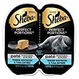 SHEBA PERFECT PORTIONS Whitefish and Tuna Entrée Wet Cat Food Trays 2.6 Ounces (24 Twin Packs)
