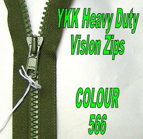 Verde Caqui Nylon YKK Cremallera Extremo Abierto 566
