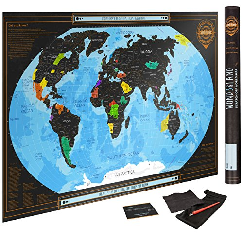 Scratch Off World Map Black Poster With Us States Complete Accessories Set Premium Scratch
