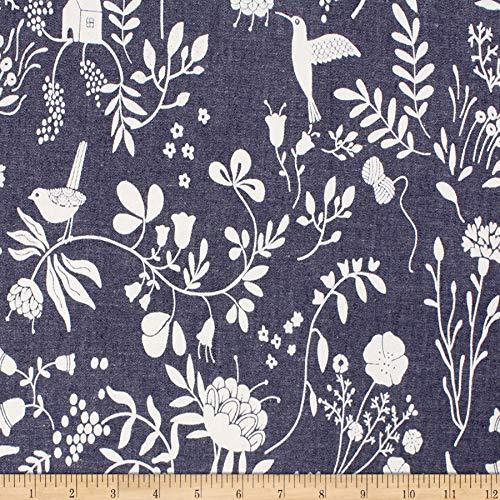 - Telio Denim Cotton Print Floral Bird Fabric, Dark Blue, Fabric By The Yard