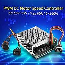 60A DC 10V-55V 12V 24V 48V PWM Brushed DC Motor Speed Controller CW CCW Reversible Switch With Digit Display