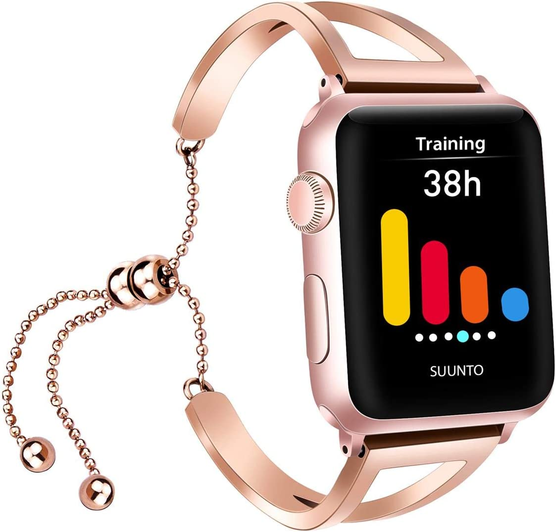 iGK Compatible with Apple Watch Band 38mm 40mm 42mm 44mm Women Jewelry Metal Cuff Strap Dressy Bangle Bracelet for Apple iWatch SE Series 6/5/4/3/2/1