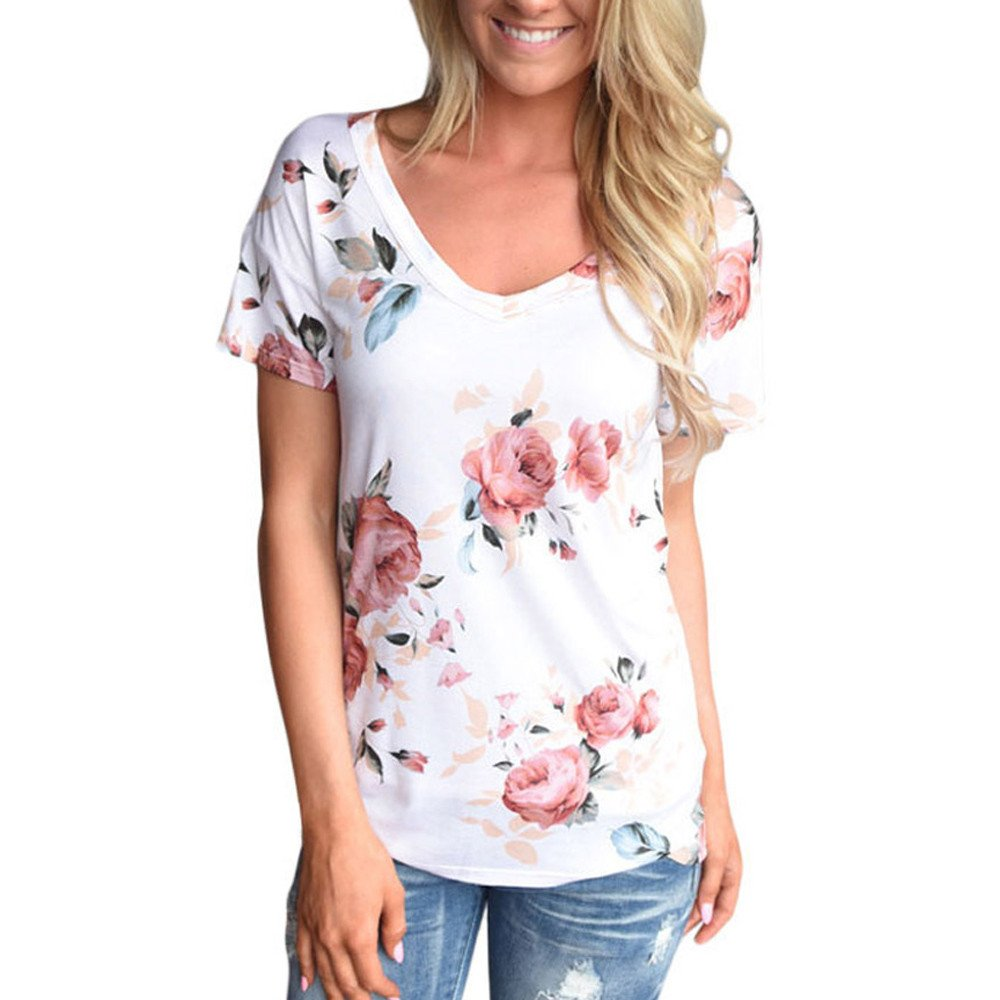 Gooldu Women Short Sleeve Loose Casual V-Neck Floral Print Cut Out Shoulder T-Shirt Tops Blouse