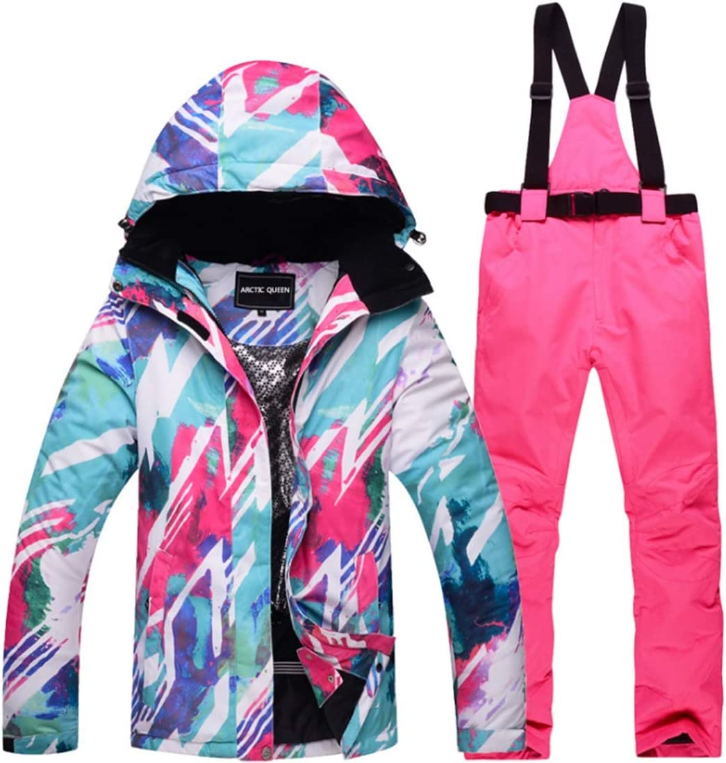 CUBCBIIS アウトドアハイキングレディーススノーシューズウィンタースキージャケットとズボンセットスノースーツ (Color : 01, サイズ : XXXL)