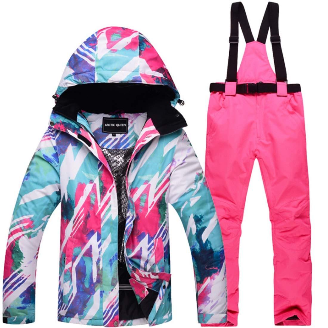 KAKACITY 女性のスノーシューズウィンタースキージャケットとパンツは、雪の屋外ハイキングのために設定 (色 : 01, サイズ : M)  Medium