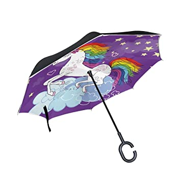 Amazon.com : My Daily Double Layer Inverted Umbrella Cars Reverse Umbrella Flying Unicorn With Moon Star Windproof UV Proof Travel Outdoor Umbrella : Sports ...