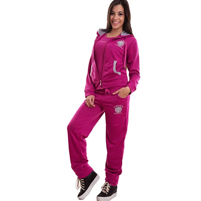 pretty nice 6826d 80b0d Tuta Donna Completo 3 Pezzi Felpa Pantaloni t-Shirt Fitness Sport Nuova  M3323 [L,Blu]