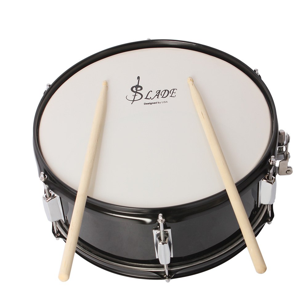 Professional Marching Snare Drum & Drum Stick & Strap & Wrench Kit Black (Marching Snare Drum)