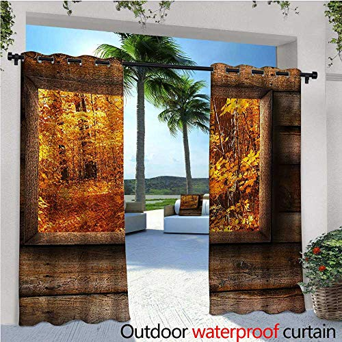 (Fall Outdoor Privacy Curtain for Pergola Fall Foliage View from Square Shaped Wooden Window inside Cottage Rustic Life Photo Thermal Insulated Water Repellent Drape for Balcony W96