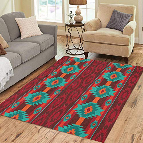 Pinbeam Area Rug Colorful Southwest Southwestern Navajo Pattern Abstract Aztec Ethnic Home Decor Floor Rug 3' x 5' Carpet