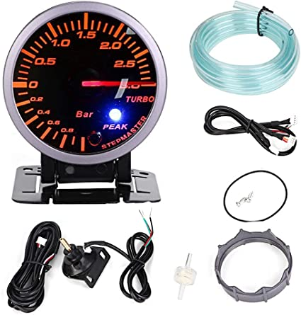 Turbocompresor 2.5 pulgadas 60 mm 3.0 Bar LED Modificaci/ón del coche Turbo Boost Gauge Meter Pointer DC12V