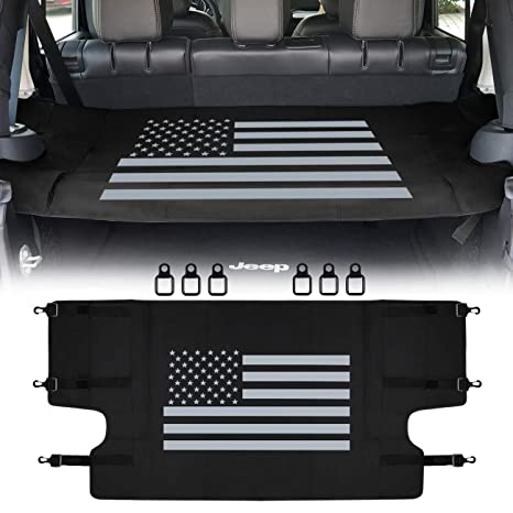 Cargo Cover Shield Pad Rear Trunk Protector Shade with US Flag Pattern Compatible for Jeep Wrangler JK JKU Sports Sahara Freedom Rubicon X /& Unlimited 2007-2018