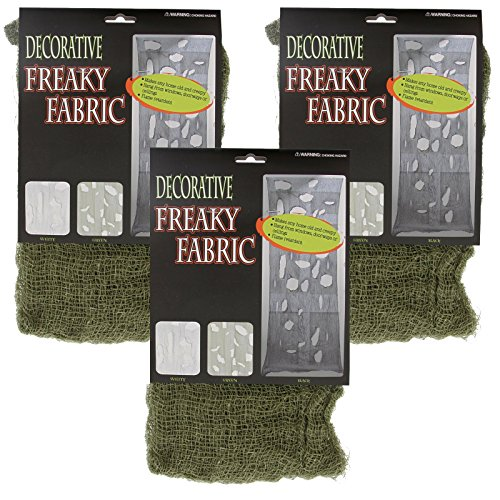 Halloween Haunters Green Freaky Loose Weave Creepy Cloth Fabric (Pack of 3) (Spooky Decorations For Halloween)