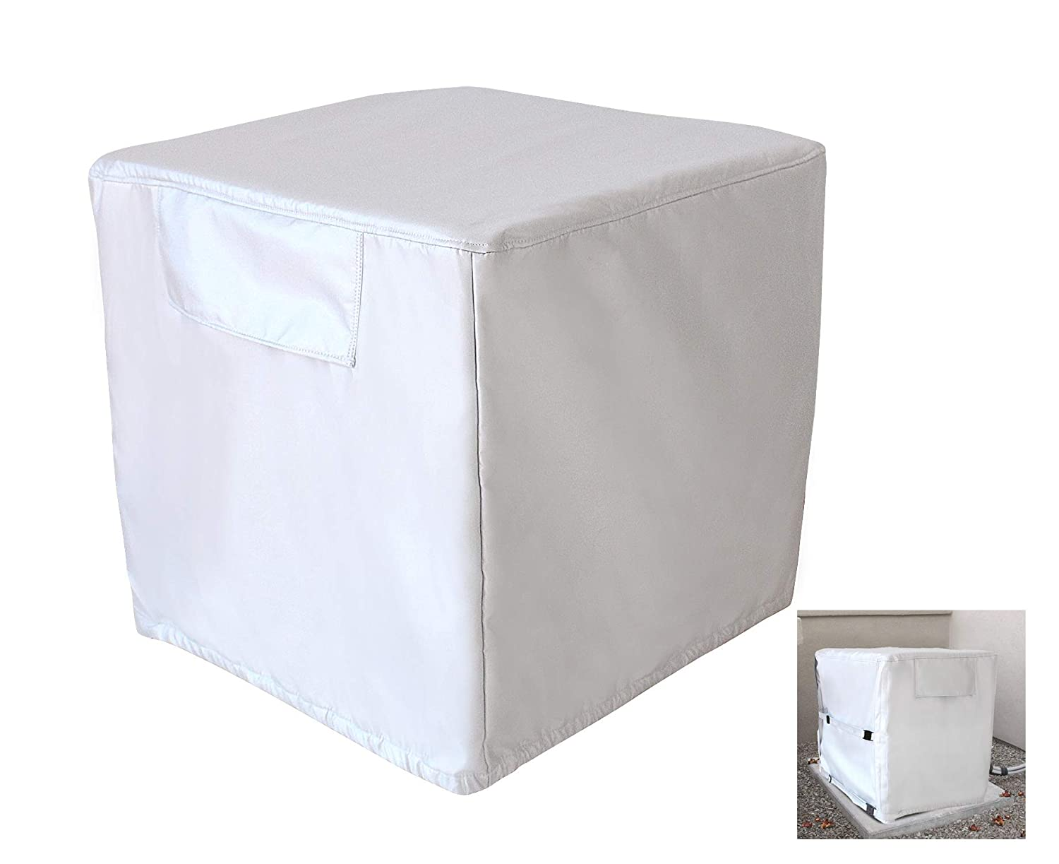 Air Conditioner Cover Water Resistant Fits 27 Width x 26 Depth x 28 Height Covered Mesh Vent Airflow 8 YR Warranty Heavy Duty Waterproof Durable Winter Outdoor AKEfit