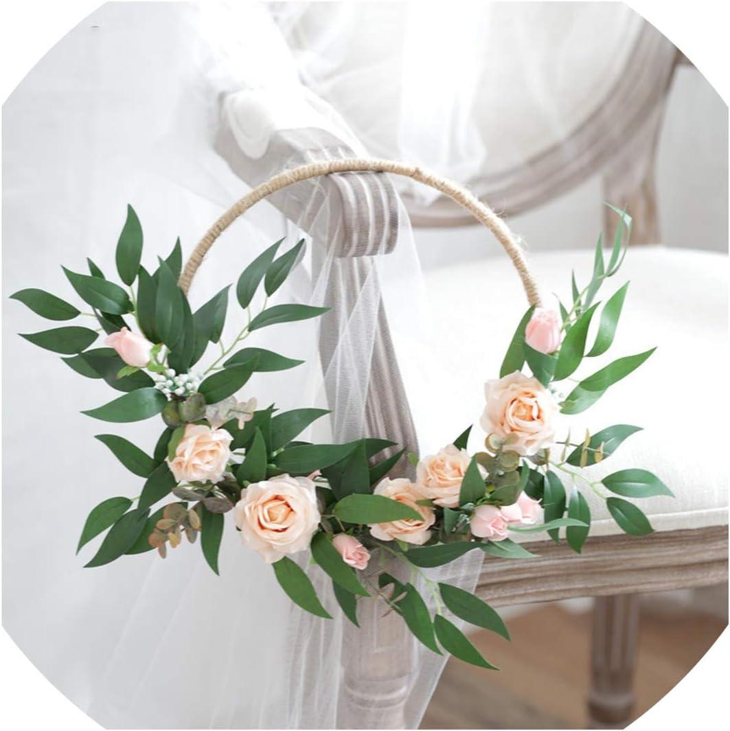 Flower Girl Bouquet Gold Hoop Bouquet Flower Girl Basket Bridesmaid Hoop Bouquet Boho Wedding Decor Wreath