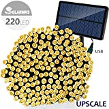 Solarmks Solar Powered String Lights with USB Charging Port, 220 LED 77ft 8Modes Durable Fairy String Lights for outdoor, Garden, Patio, Landscape, We
