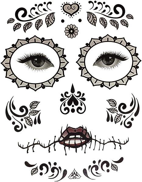 Kit de Pegatinas Calavera de Azúcar Tatuaje de Cara Arte ...