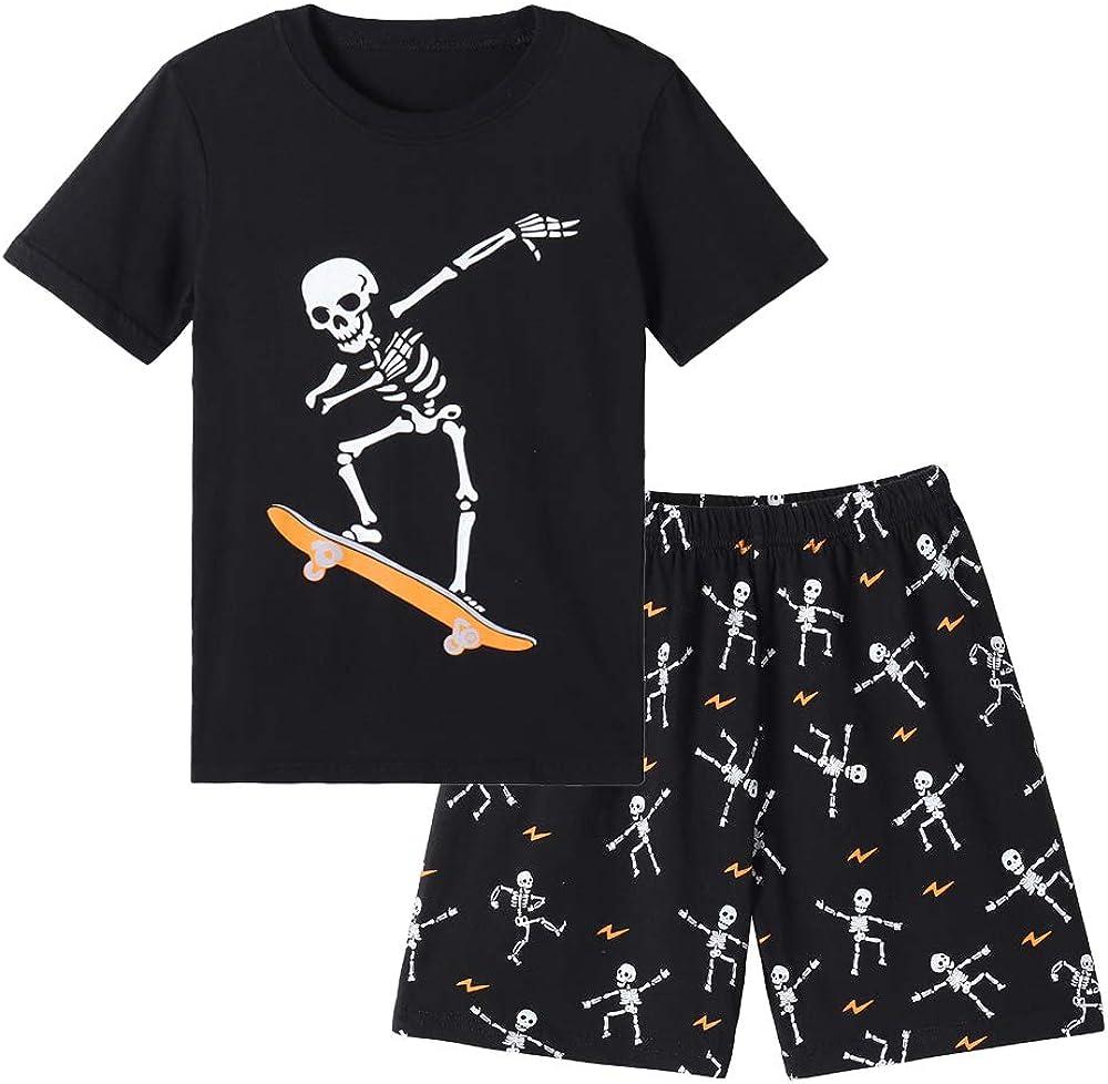 MyFav Big Boys Glow in Dark Skull Pjs Cotton Sleepwear Comfy Pajama Shorts Sets