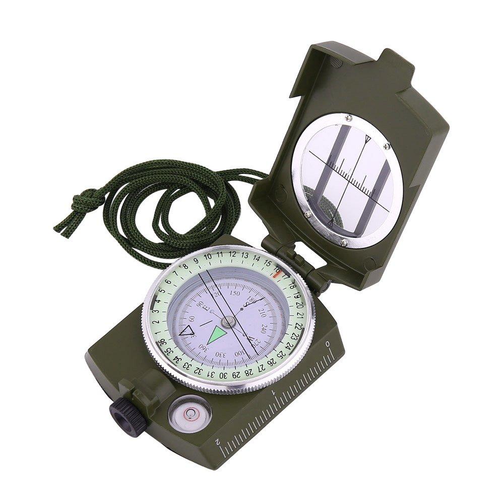 Sportneer Military Linsenkompass Visieren Kompass mit Tragetasche, wasserdicht und Shakeproof, Armee Grün