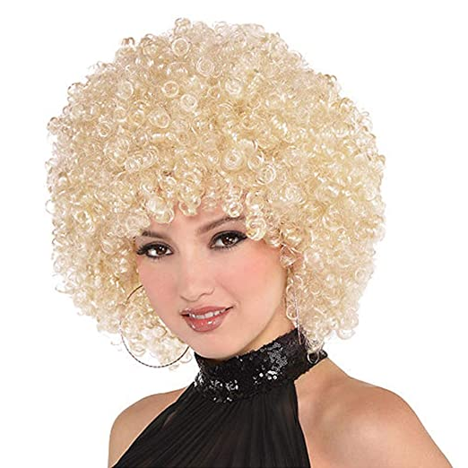 70s Headbands, Wigs, Hair Accessories ForQueens Afro Curly Wig Short Kinky Curly Hair Synthetic Blonde Wigs for Women Fluffy Hair Heat Resistant Fiber (150g613#)  AT vintagedancer.com