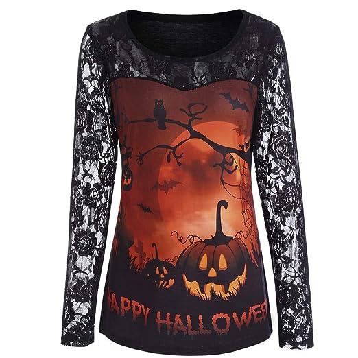 Women Shirts Plus Size Halloween Lace Long Sleeve Blouse Tunic Girls