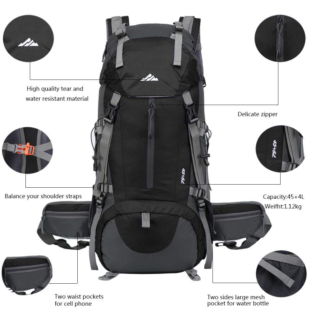 ... Travel Hiking Backpack Outdoor Sport Daypack Water-Resistant Bag with  Rain Cover for Climbing Camping Touring Mountaineering(Black)   Sports    Outdoors 5cc0e05aeecc1