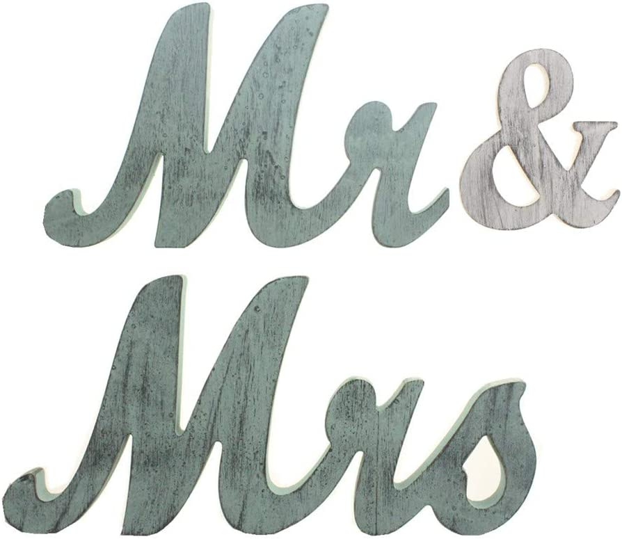 senover Rustic Mr and Mrs Sign Wedding Sweetheart Table Decorations,Mr and Mrs Letters Decorative Letters for Wedding Photo Props Party Banner Decoration,Wedding Shower Gift
