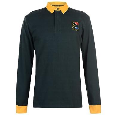 e5381dba7e2 Team Mens Long Sleeve Rugby Jersey Shirt Cotton Button Placket Fold Over  Collar South Africa Medium