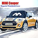 (for MINI Cooper/Cooper S/One/One D R50/R52/R53/R55/R56 )Magnetic Windshield Cover Ice & Snow - Cartoon Eyes Design - Frost Freeze Protector Sun-UV Waterproof - Fulfilled by Amazon -