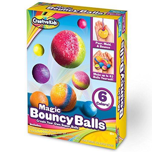 Creative Kids DIY Magic Bouncy Balls - Create Your Own Crystal Power Balls Craft Kit for Kids - Includes 25 Bags of Multicolored Crystal Powder & 5 Molds - Makes Up To 43 Balls - Ball Party Kit