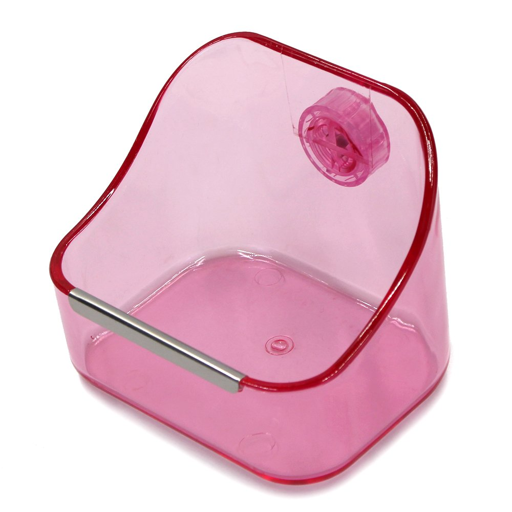 MoMaek Small Animal Supplies Plastic Pet Rabbit/Guinea Pig/Galesaur/Hamster Grass/Food/Water Double Use Container/Feeder/Bowl/Dish (Light pink) by MoMaek (Image #4)