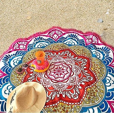 Amazon.com : BeddingOutlet Tassel Indian Toalla Mandala Tapestry Beach Towel Sunblock Round Bikini Cover-Up Blanket Lotus Bohemian Yoga Mat : Sports & ...