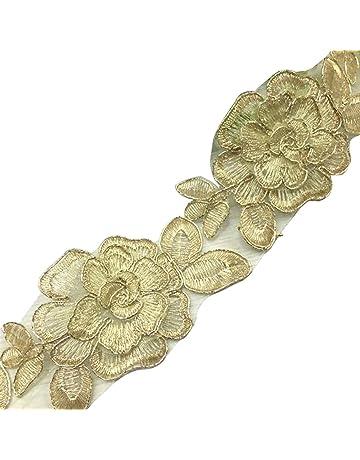 rosenice 1 Yard 6 cm flores doradas Punta banda para DIY Costura boda vestido casa Ceremonia