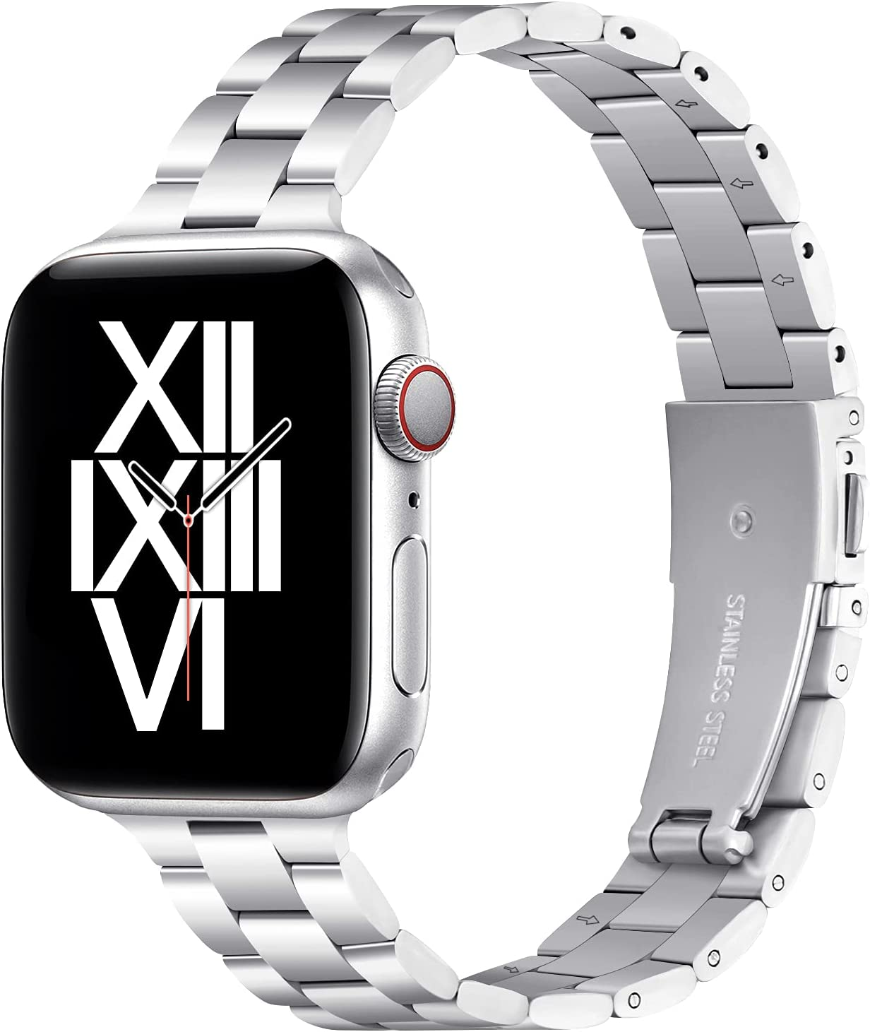 Thin Metal Band Compatible with Apple Watch 38mm 40mm Slim Stainless Steel Adjustable Wristband Strap for iWatch SE Series 6 5 4 3 2 1 for Women Men,Silver