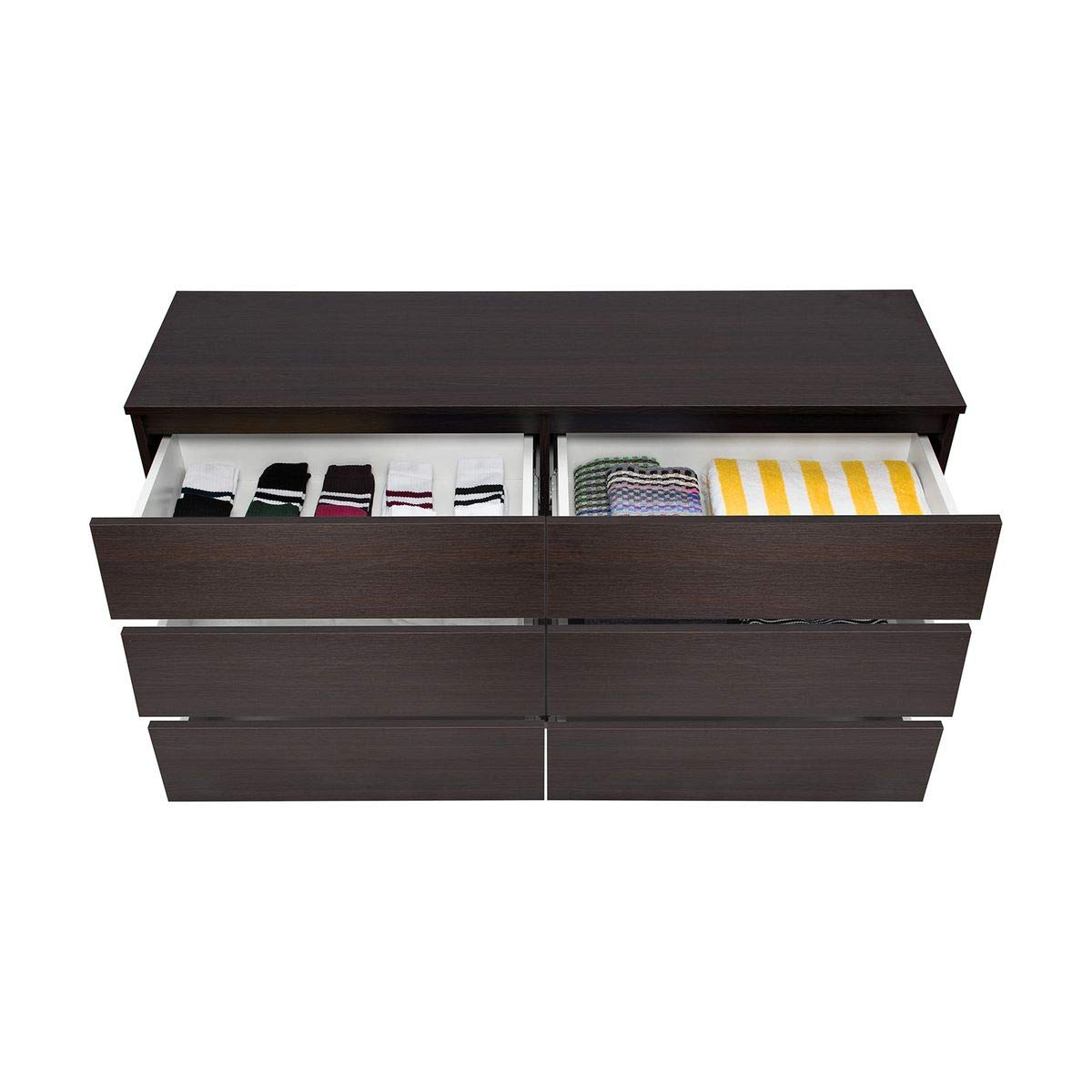 Galdem® Commode à 6tiroirs 140cm Multi-usages Buffet Armoire Buffet Couloir Couloir Salle à Manger Salon Chambre