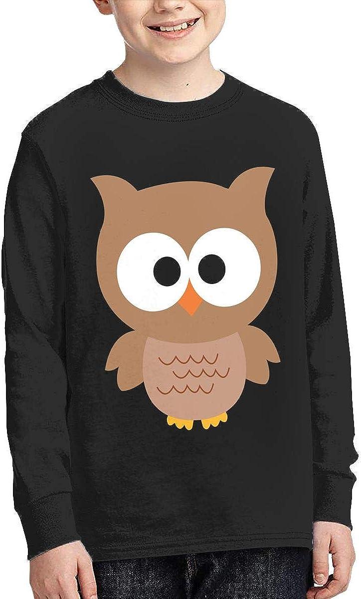 Teenagers Teen Boy Cartoon Owl Printed Long Sleeve 100/% Cotton T-Shirts